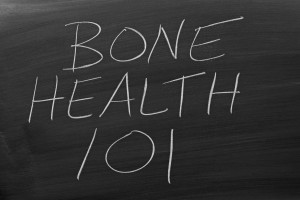 "The words ""Bone Health 101"" on a blackboard in chalk"